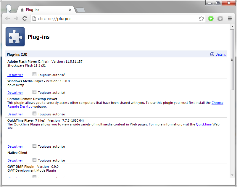 Gestion des plugins Google Chrome