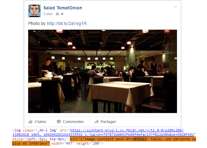 Auto-caption par Facebook; exemple 1.
